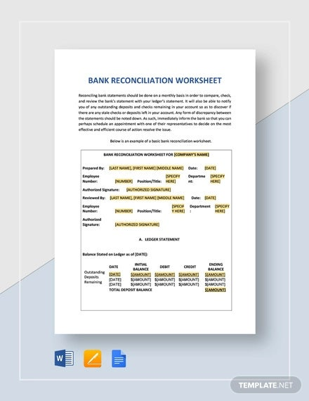 bank reconciliation worksheet template
