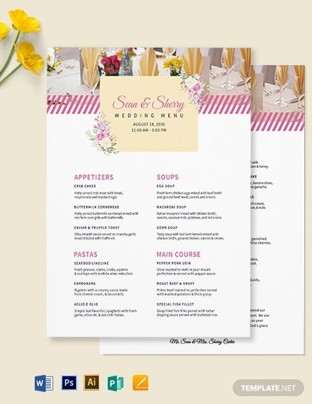 banquet wedding menu template