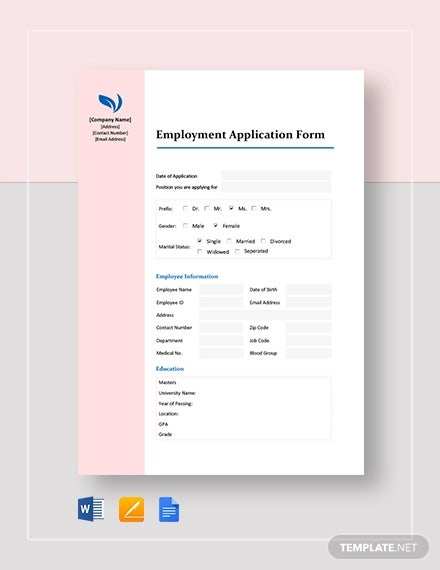 basic employment application form template1