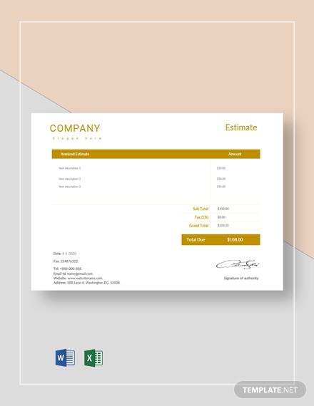 blank company estimate