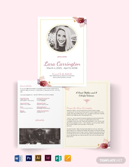 blank loving memory funeral bi fold brochure template