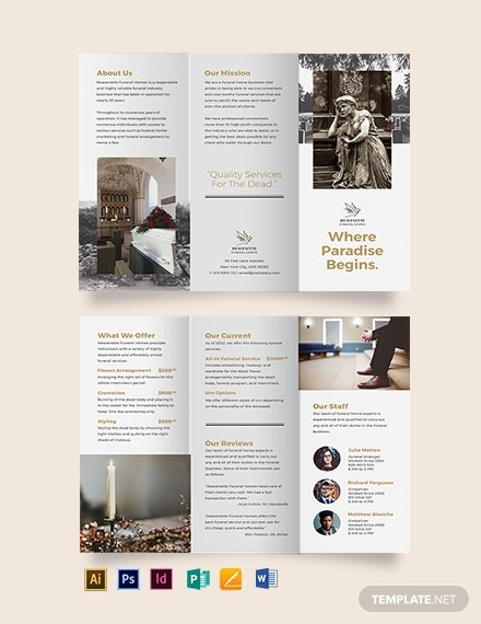 burial funeral service tri fold brochure