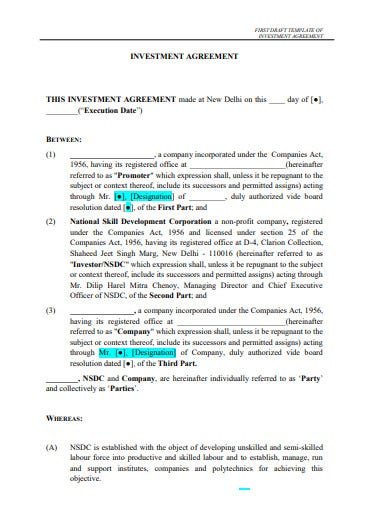 business investment partnership agreement templates