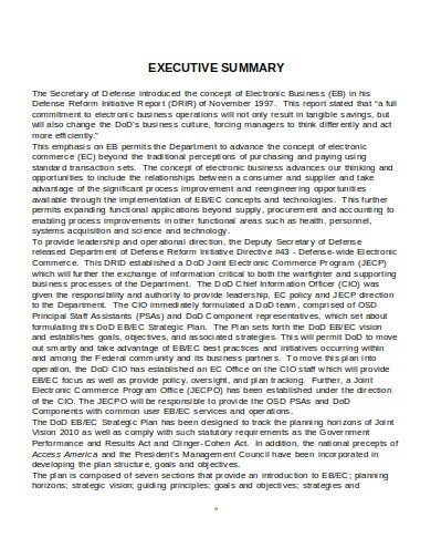 business research executive summary sample