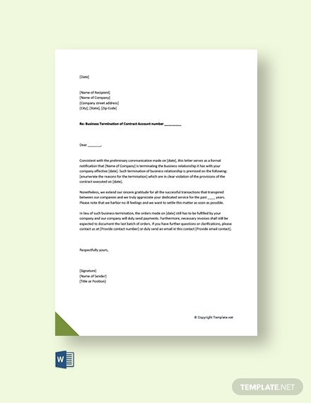 business termination acceptance letter