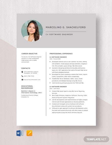 c software engineer resume template
