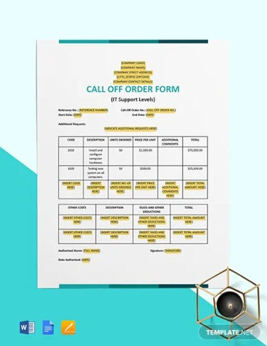 call off order form it support levels template