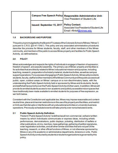 campus student freedom of expression policy template
