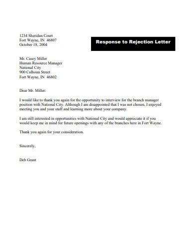 candidate rejection response email template