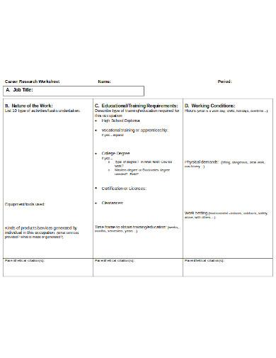 career research worksheet template