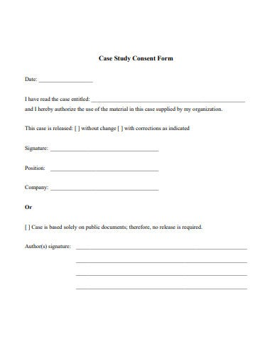 case study consent release form example