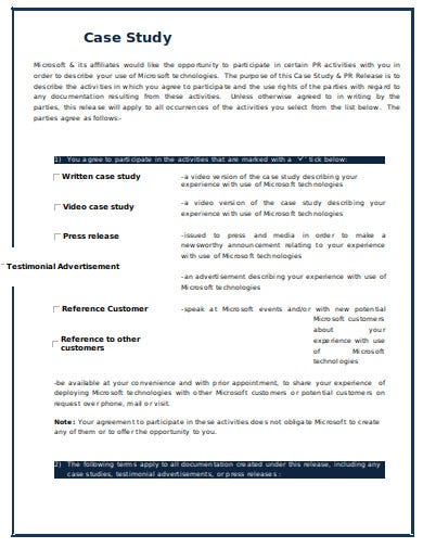 case study release form template in doc