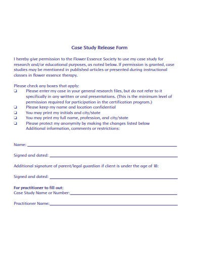 case study release form template