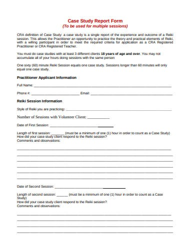 case study report release form format