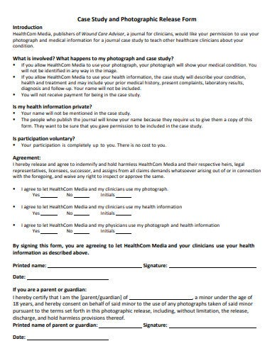 case study and photographic release form template