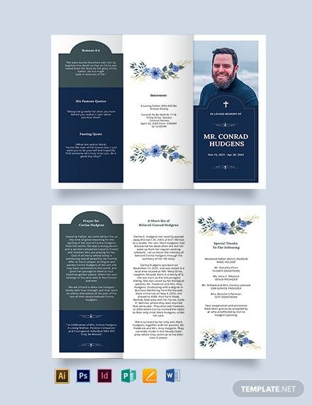 catholic burial funeral tri fold brochure