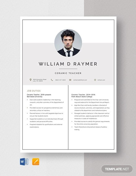 ceramic teacher resume template