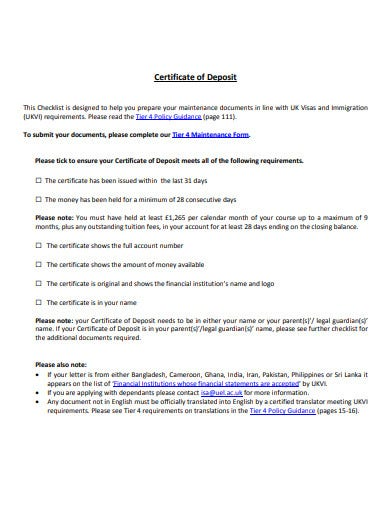 certificates of deposit template