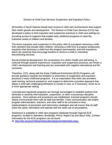 child care suspension and expulsion policy