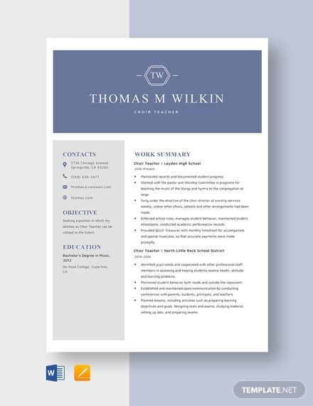 choir teacher resume template