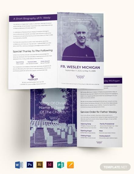 christian loving memory funeral bi fold brochure template