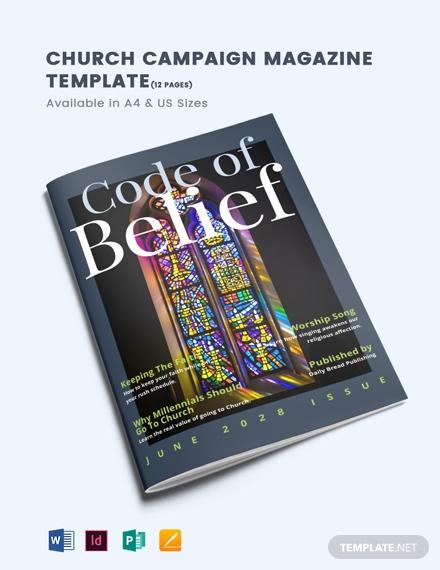 church campaign magazine template