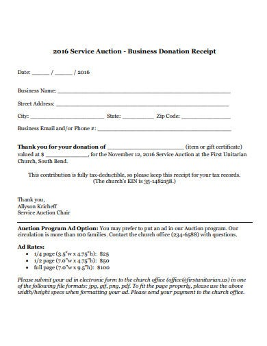 church donation receipt format
