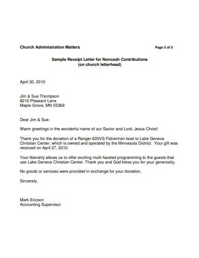 church donation receipt letter template