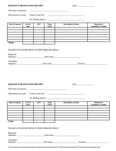 church request donation receipt template