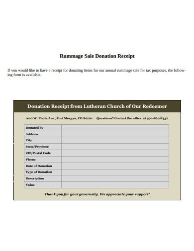 church sales donation receipt template