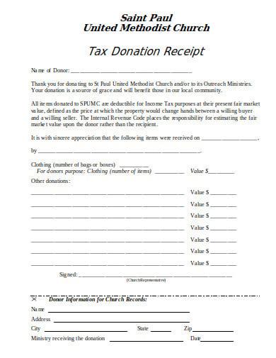 church tax donation receipt example