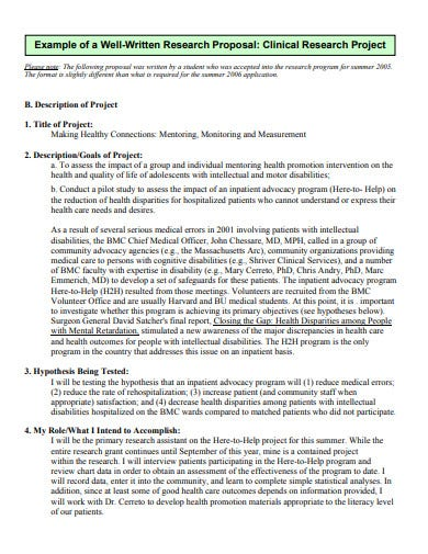 clinical research proposal example