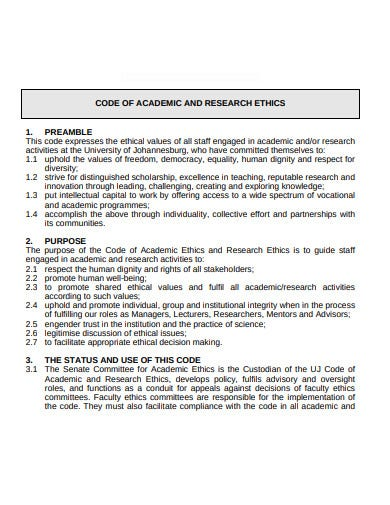 code of academic and research ethics