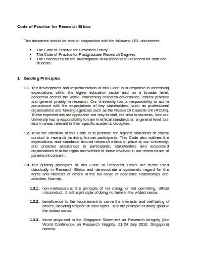 code of practice for research ethics