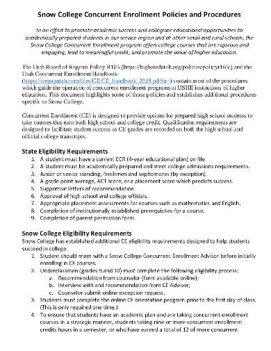 college concurrent enrollment class policy in pdf