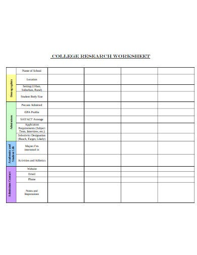 college research worksheet template