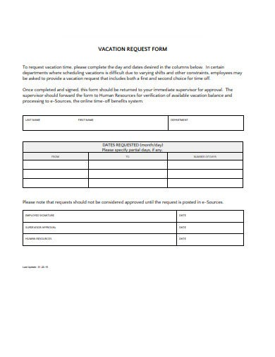 college vacation request form template
