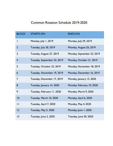 common schedule rotation template