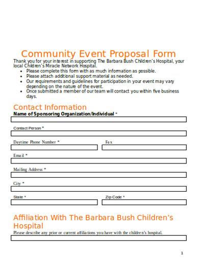 community event affliation proposal