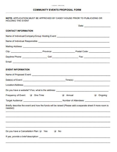 community event application proposal