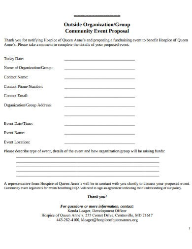 community event organisation proposal