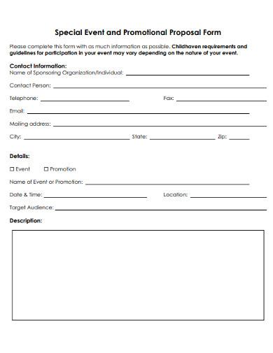 community event promotional proposal