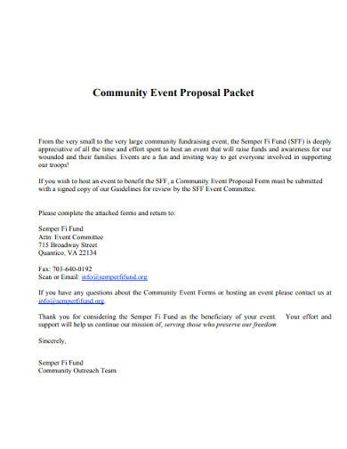 community event proposal packet