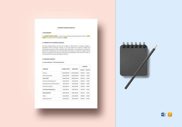 company financial analysis template 600x4208