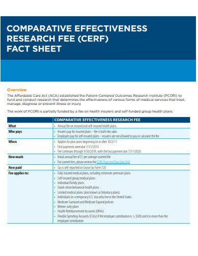 comparative research fee fact sheet template