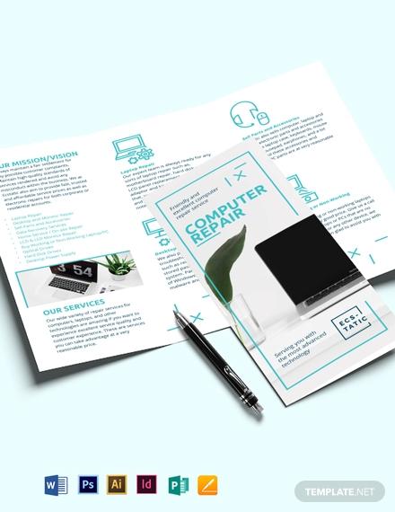 computer repair shop tri fold brochure template