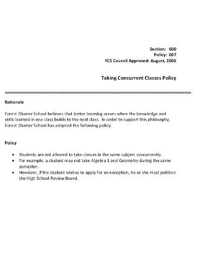 concurrent classes policy template