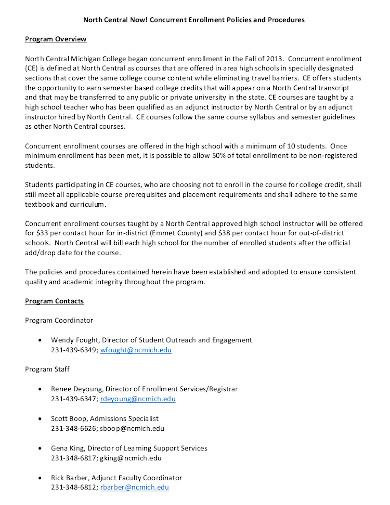 concurrent enrollment class policies and procedures