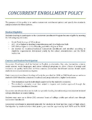 concurrent enrollment class policy in pdf