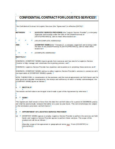 confidential contract for logistics services